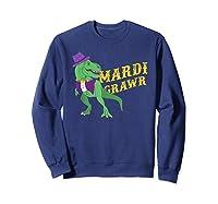 Mardi Grawr T Rex Dinosaur Mardi Gras Bead T Shirt T-shirt Sweatshirt Navy