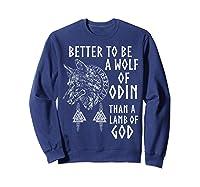 Vikings Wolf Rune Circle Wolf Of Odin Norse Mythology T-shirt Sweatshirt Navy