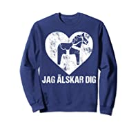 Scandinavian Valentine's Day Dala Horse Jag Alskar Dig Shirts Sweatshirt Navy
