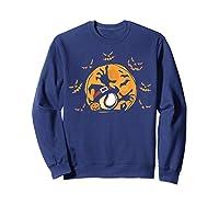 Baseball Pumpkin Witch Hat Funny Halloween Costume Shirts Sweatshirt Navy