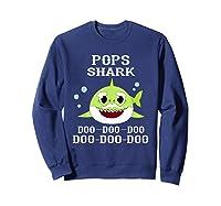 Pops Shark Doo Doo Doo Matching Family Shark Shirts Sweatshirt Navy