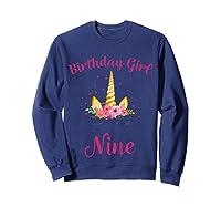 9th Birthday Girl Unicorn Shirt 9th Birthday Out Sweatshirt Navy