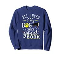 Bernese Mountain Dog Gift Funny Saying Book Love Reading Premium T-shirt Sweatshirt Navy