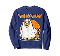 Dog Ghost Halloween Party Trick For Treat Shirts Sweatshirt Navy