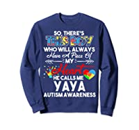 This Boy He Call Me Yaya Autism Awareness Shirts Sweatshirt Navy