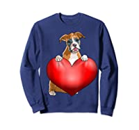 Valentines Day Dog Boxer Heart Gift Girl Shirts Sweatshirt Navy