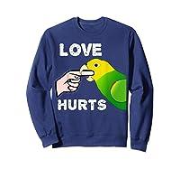 Love Hurts Yellow Head Amazon Parrot Biting Finger Shirts Sweatshirt Navy