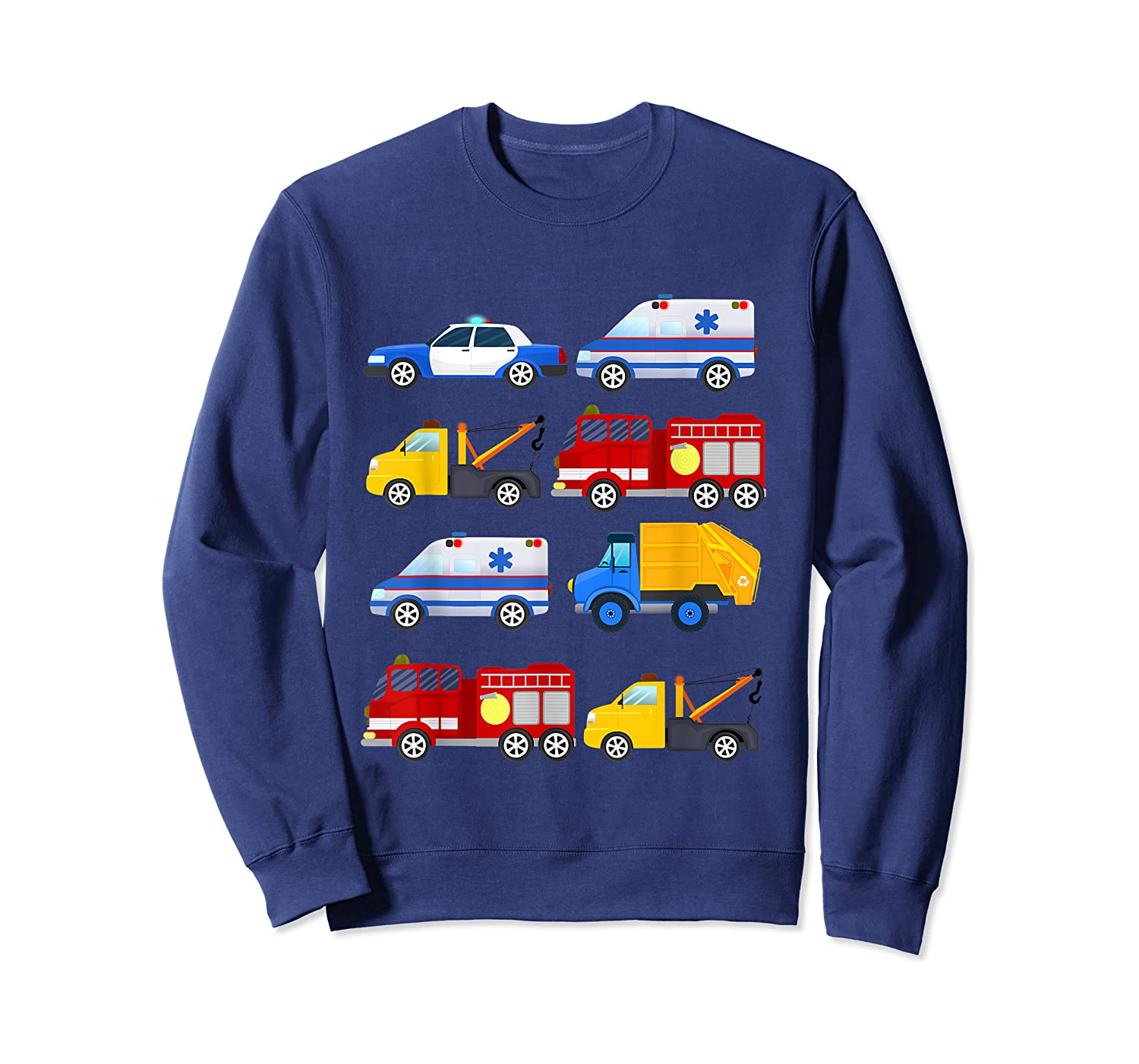 Emergency Vehicles Fire Truck Police Car Ambulance Tow Truck Shirts Crewneck Sweater