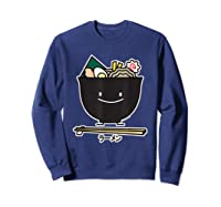 Ra Bowl Noodles Chopsticks Seaweed Soup Char Siu Pork T-shirt Sweatshirt Navy