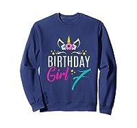 Birthday Girl 7 Year Old Gift Cute Unicorn Face 7th Bday T-shirt Sweatshirt Navy