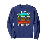 Boca Raton Florida Palm Trees Sunset Matching Vacation T-shirt Sweatshirt Navy