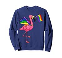 Flamingo Lgbt Pride Month T-shirt Sweatshirt Navy