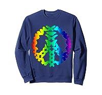 Butterflies Peace Sign Love Butterfly 60s Retro Hippie Gift T-shirt Sweatshirt Navy