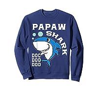 Papaw Shark Halloween Christmas Gift Shirts Sweatshirt Navy