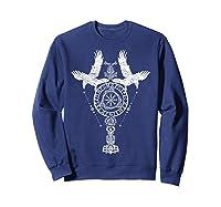 Odins Ravens Huginn & Muninn Vegvisir Tshirt Mjolnir Valknut Sweatshirt Navy