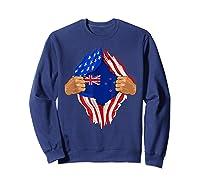 New Zealand Blood Inside Me T-shirt   New Zealand Flag Gift Sweatshirt Navy