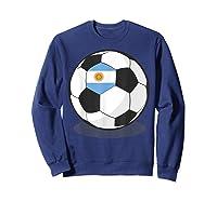 Argentinian Flag On Soccer Ball   Argentina Football Shirts Sweatshirt Navy