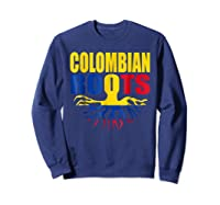 Storecastle Colombian Roots Colombia Flag Pride Shirts Sweatshirt Navy
