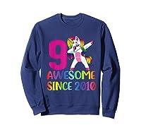 9 Years Old 9th Birthday Unicorn Dabbing Girl Party Shirts Sweatshirt Navy