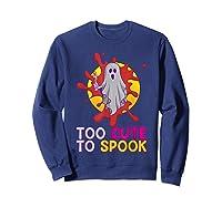 Cute Ghost Girls Costume Spooky Halloween T-shirt Sweatshirt Navy