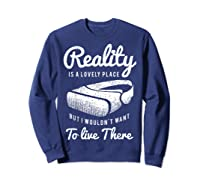 Virtual Reality Hmd Interactive Game Vr Headset Shirts Sweatshirt Navy