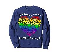 Funny 100th Day Of School Tea Heart Valentine Day Shirts Sweatshirt Navy