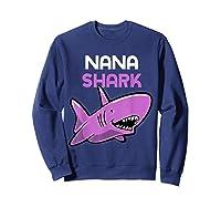 Nana Shark Funny Family Gift Mother's Day Shirts Sweatshirt Navy