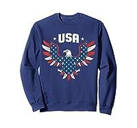 Patriotic American Flag Bald Eagle Usa T Shirt  Sweatshirt Navy