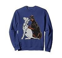 Cute Fashionable Doberman Tattooing Dalmatian Dog Gift Shirts Sweatshirt Navy