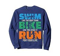 Swim Bike Run Triathlon Running Cycling Swimming Shirts Sweatshirt Navy