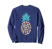Summer Hawaii Pineapple Cat Kawaii Neko Aloha Hawaiian Shirts Sweatshirt Navy