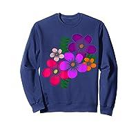 Blooming Flower, Blooms, Blossoms, Garden, Bunch Of Flowers T-shirt Sweatshirt Navy