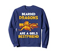 Funny Bearded Dragon Herping Girl Best Friend T-shirt Lizard T-shirt Sweatshirt Navy