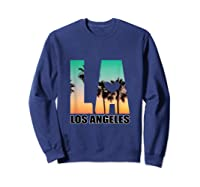 Los Angeles Design La Palm Tree Sunset Boulevard T-shirt Sweatshirt Navy