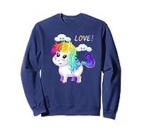 Unicorn Lgbt Gift Rainbow Gay & Lesbian Love Sweet Premium T-shirt Sweatshirt Navy