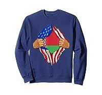 Belarusian Blood Inside Me Belarus Flag Gift Shirts Sweatshirt Navy