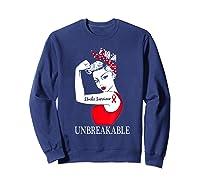 Stroke Survivor Unbreakable Strong Shirts Sweatshirt Navy