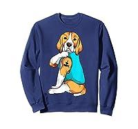 Beagle I Love Mom Apparel, Dog Mom Gifts Shirts Sweatshirt Navy