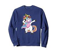 Dabbing Unicorn Shirt Flower Girl Dab Dance Horse Gift Premium T-shirt Sweatshirt Navy
