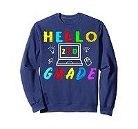 Hello 2nd Grade Tea Back To School Online Teaching T-shirt Sweatshirt Navy