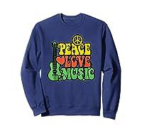 Peace Love Music Reggae Guitar T-shirt For Everyone Sweatshirt Navy