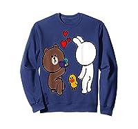 Brown Bear Cony Bunny Rabbit Engaget Ring Marriage Fiance Shirts Sweatshirt Navy