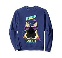 Vaporwave 80's Style Pet Dog Boop That Snoot German Shepherd Shirts Sweatshirt Navy