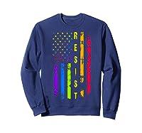 Pride Lgbt Colorful Flag Rainbow Shirts Sweatshirt Navy