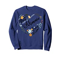 Best Mimmie Ever Heart Flower Blessed Grandma Mother's Day Shirts Sweatshirt Navy