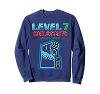 Level 7 Unlocked Birthday Gamer And Girls T-shirt Sweatshirt Navy