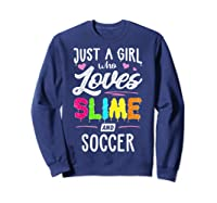 Just A Girl Who Loves E And Soccer Gift Shirts Sweatshirt Navy