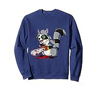 Spooky Halloween Costume Trash Panda Bloody Chainsaw Raccoon Shirts Sweatshirt Navy