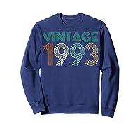 26th Birthday Gift Idea Vintage 1993 T-shirt Distressed Sweatshirt Navy