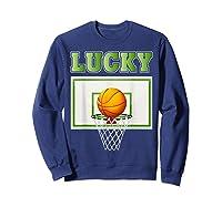 Leprechaun Lucky Basketball St Patrick's Day Shirts Sweatshirt Navy